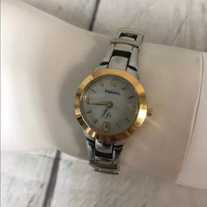 Fossil Watch Women Silver Gold Two Tone With Date